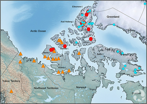 A map showing northern Canada, Alaska, Greenland.