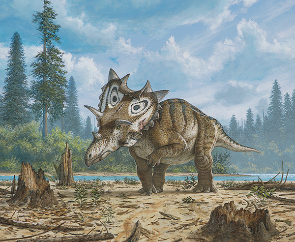 An illustration of the dinosaur in its habitat.