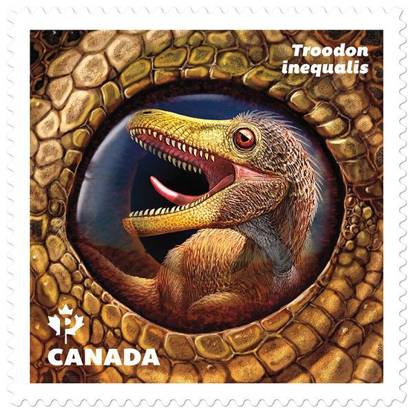 The stamp featuring the Troodon.