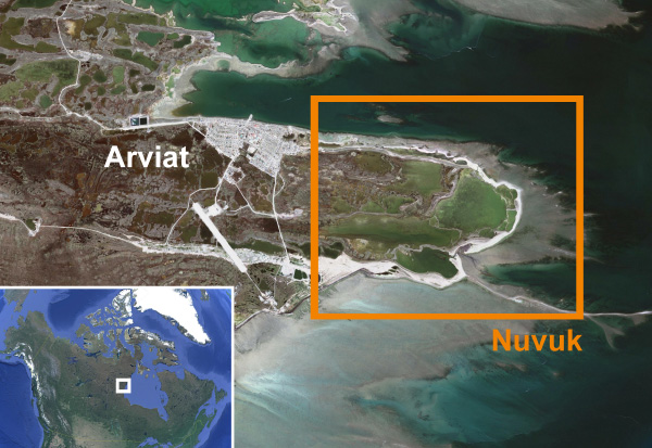 A map showing the Arviat area and a map showing Canada and Greenland.