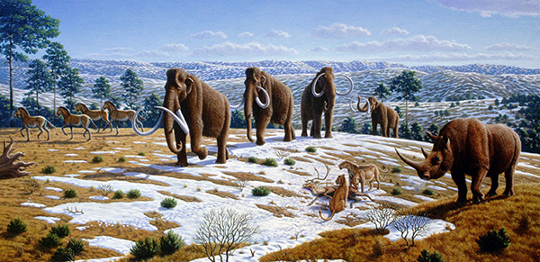 An artist's illustration shows animals in a mammoth steppe landscape.