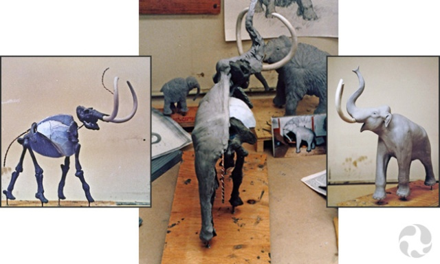 Three images of stages in the construction of a mammoth model.