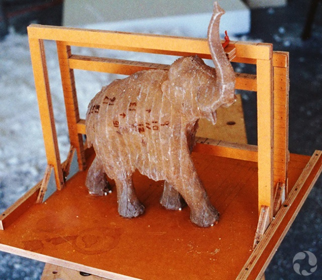 A resin cast of the male mammoth.