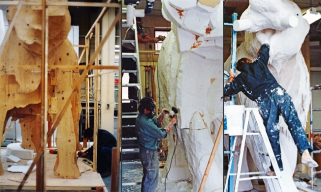 Three images, one showing plywood templates for a life-size version of the mammoth, and the others showing people adding styrofoam and sculpting the plaster of the mammoth model.