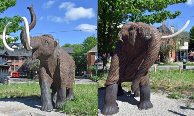 Two images of the male and female woolly mammoth sculptures.