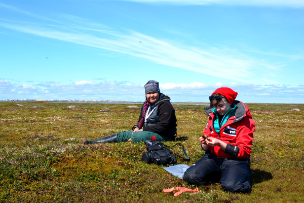 Two women sitting on the tundra colleting plants.