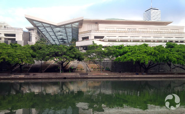 A building beside water.