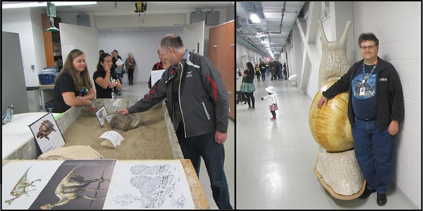 Composite: A visitor handles a fossil, a man stands beside a giant snail model.