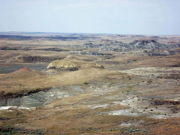 A panoramic view of the badlands in Grasslands National Park