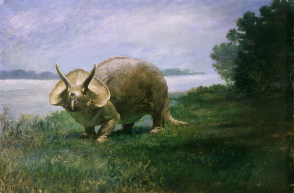Painting of a horned dinosaur