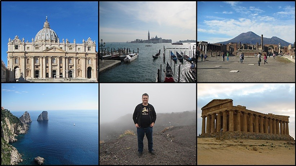 A collage of various locations in Italy and the author.