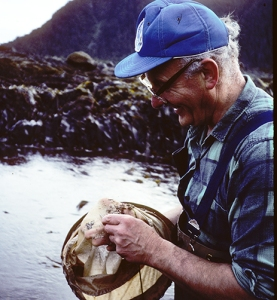 A man wearing waders standing in a tide pool examines the contents of his dip net