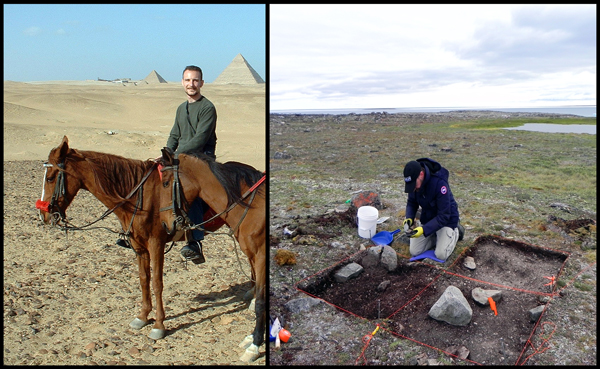 Two photos of an archaeologist in the field in Egypt and Nunavut