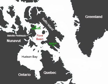 Map of northeastern Canada
