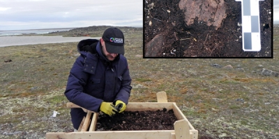 An archaeologist sieving soil with an inset photo of an archaeological find
