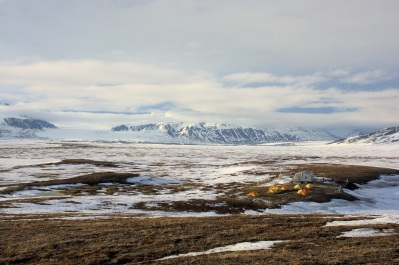 Arctic landscape showing a research station and a backdrop of mountains