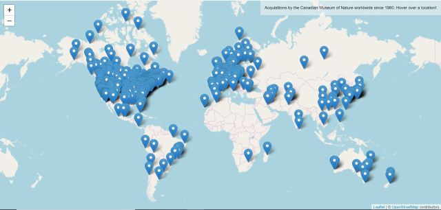 Interactive map Interactive map detailing the location of institutions who have collaborated in collection development.