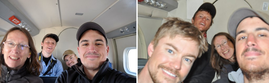 Four people in a plane before and after conducting a month of fieldwork.