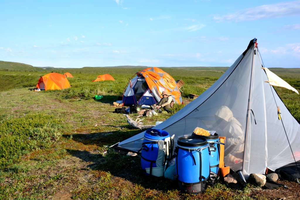 An Arctic field camp consisting of several tents. One man is working in the background, while another is working inside a tent in the foreground.