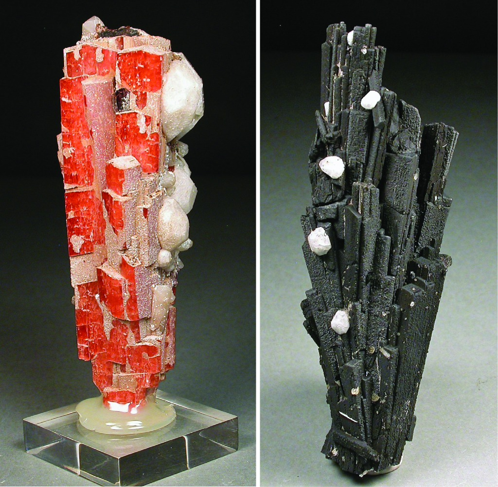 Two specimens are shown. On the left, a group of near parallel, prismatic, orange serandite crystals, and on the right, a group of similarly shaped black crystals.