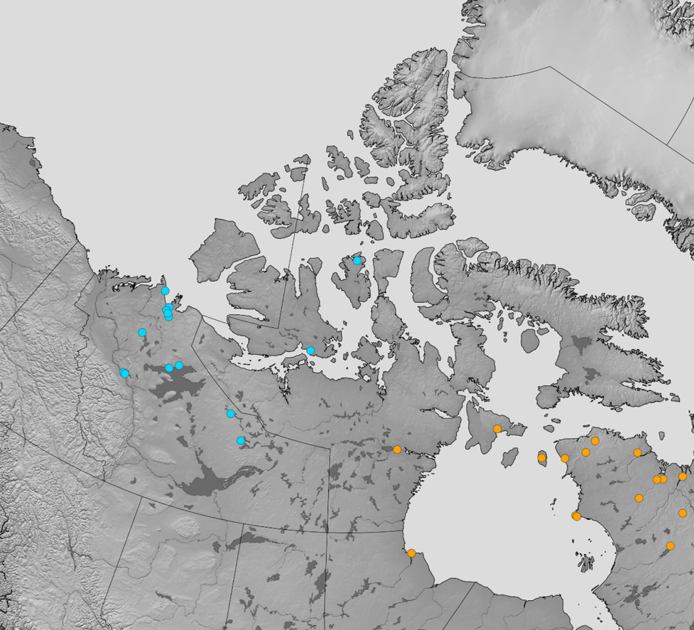 A dot map displaying collection sites in the Canadian Arctic.