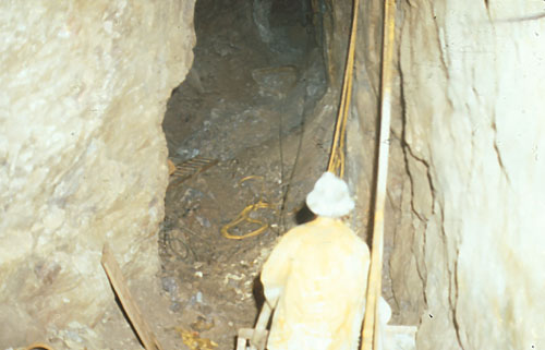 A miner works underground in harsh conditions at the St. Lawrence Fluorspar mine during the 1970s.